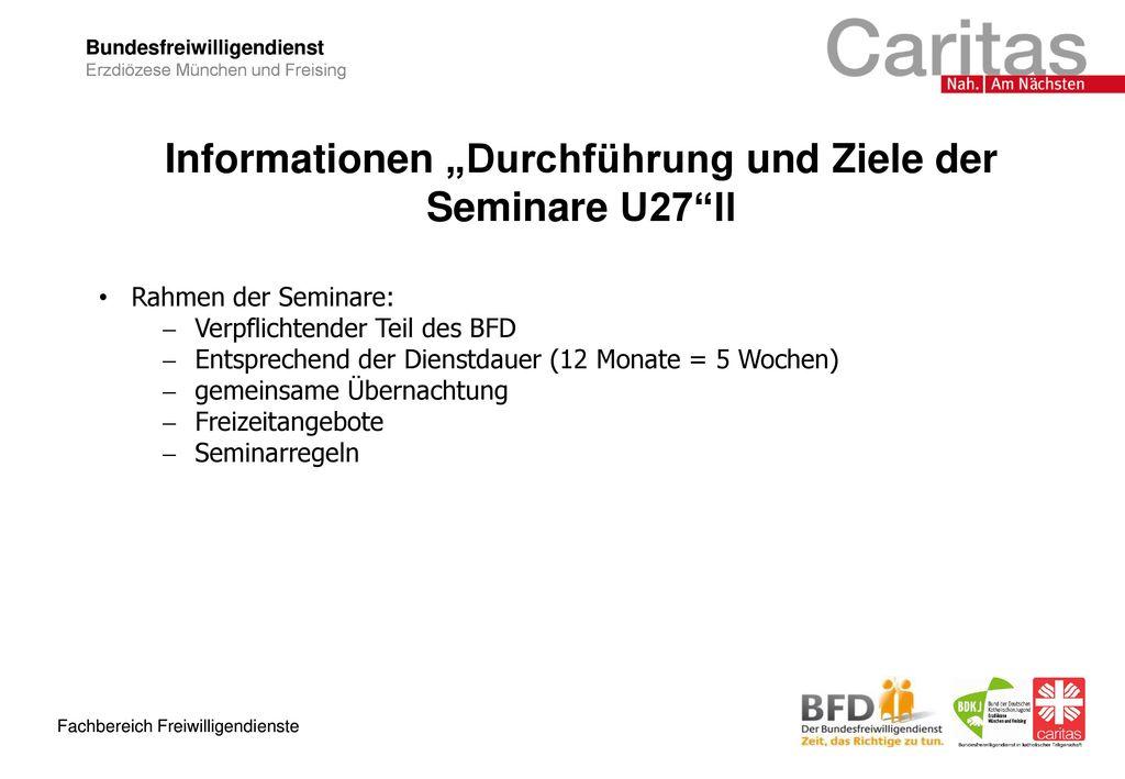"""Informationen """"Durchführung und Ziele der Seminare U27 II"""
