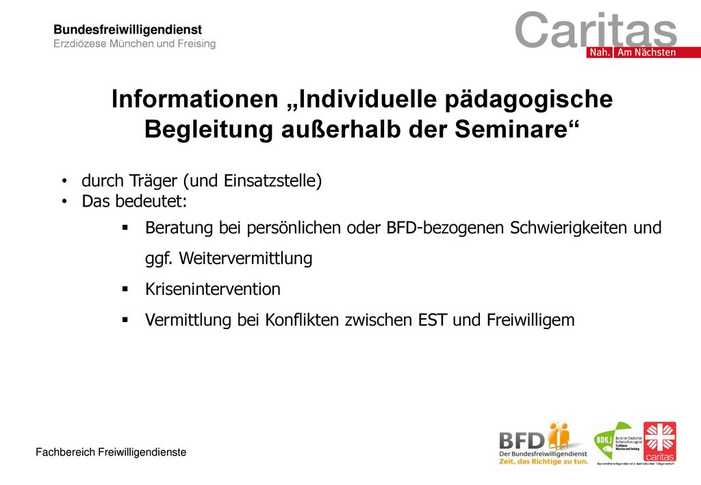 """Informationen """"Individuelle pädagogische Begleitung außerhalb der Seminare"""
