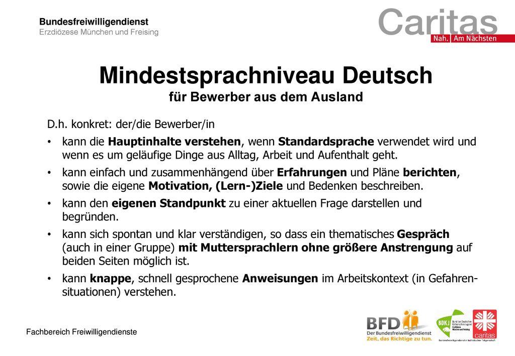 Mindestsprachniveau Deutsch für Bewerber aus dem Ausland