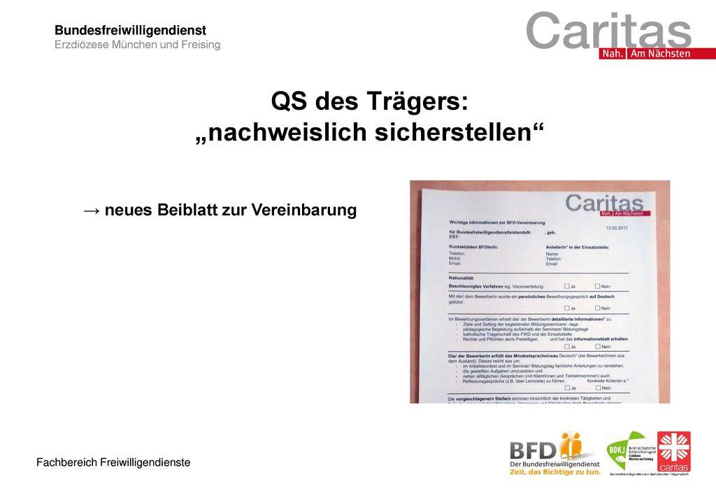"""QS des Trägers: """"nachweislich sicherstellen"""