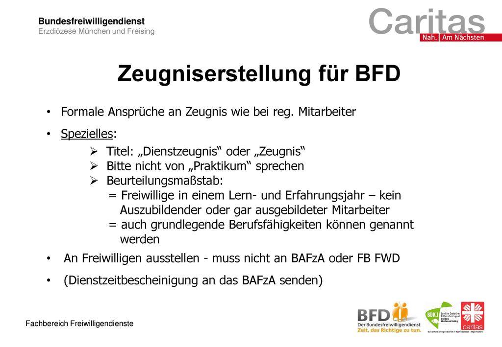 Zeugniserstellung für BFD