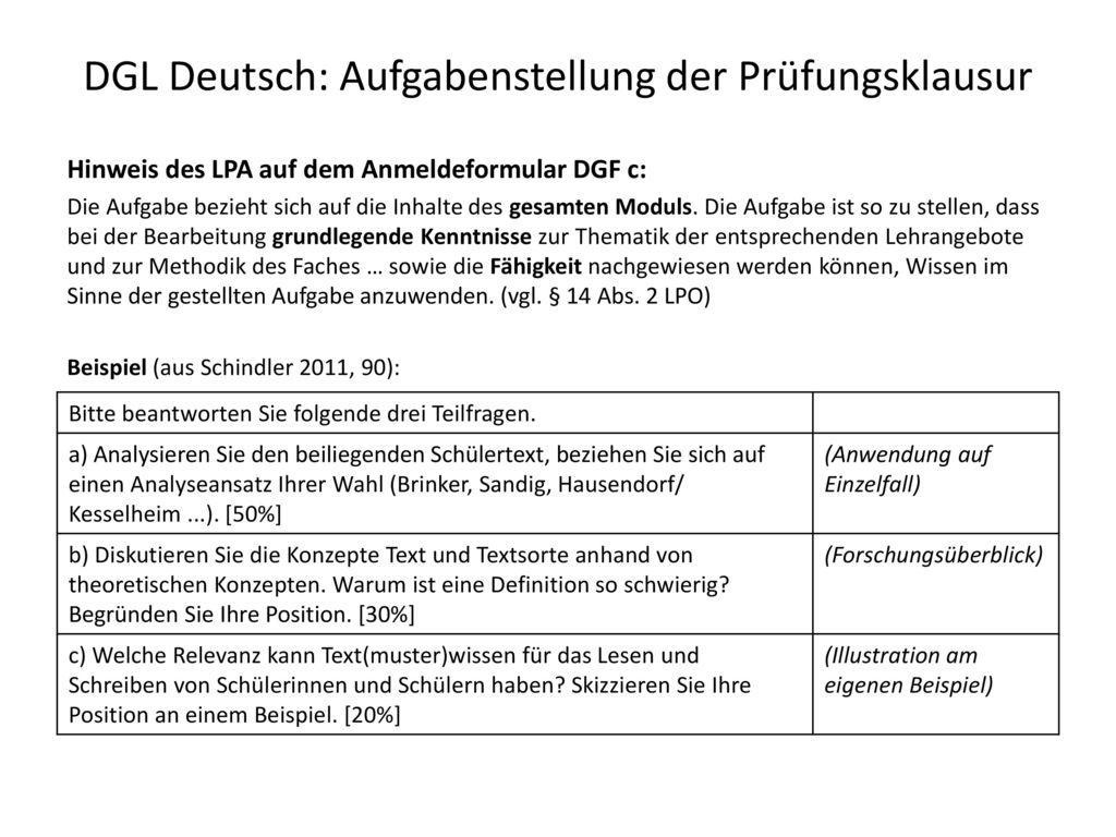 DGL Deutsch: Aufgabenstellung der Prüfungsklausur