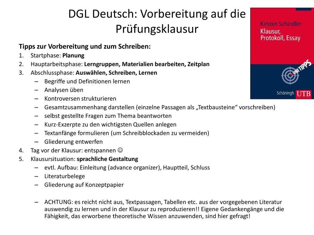 DGL Deutsch: Vorbereitung auf die Prüfungsklausur