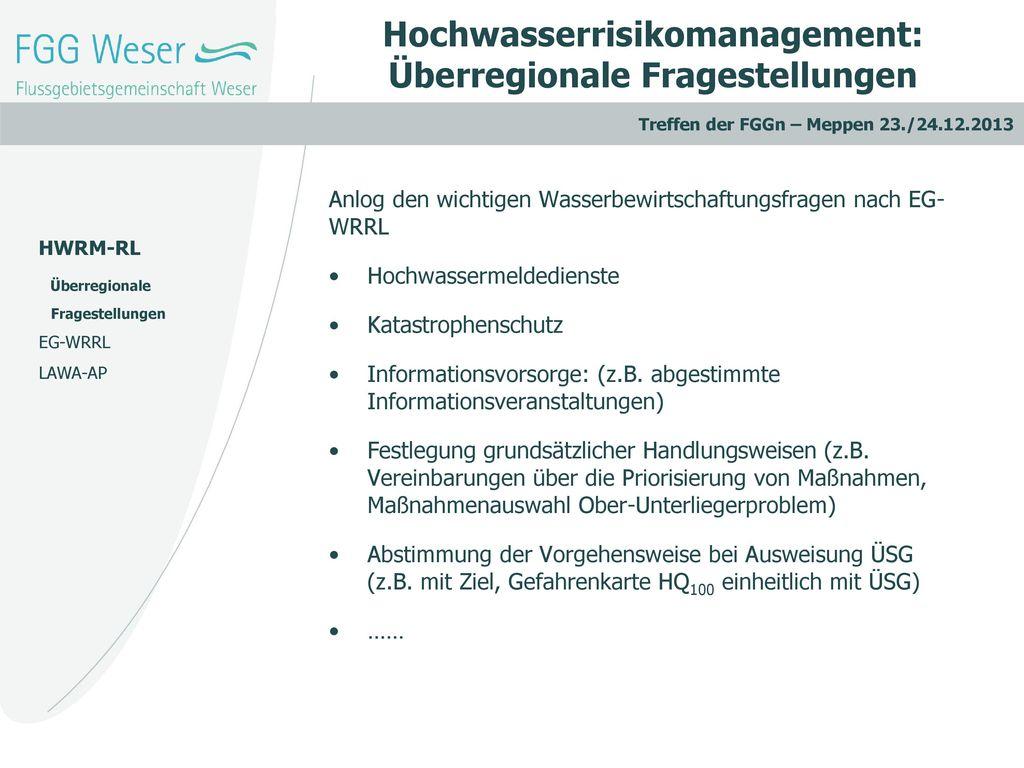 Hochwasserrisikomanagement: Überregionale Fragestellungen