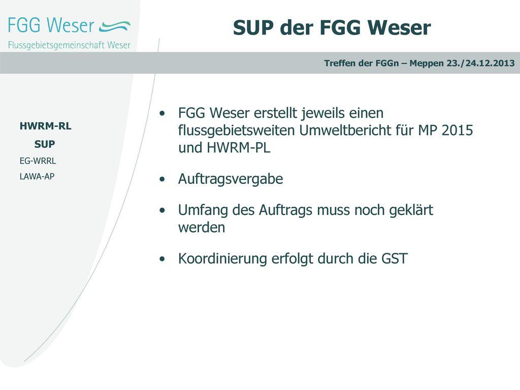 SUP der FGG Weser FGG Weser erstellt jeweils einen flussgebietsweiten Umweltbericht für MP 2015 und HWRM-PL.