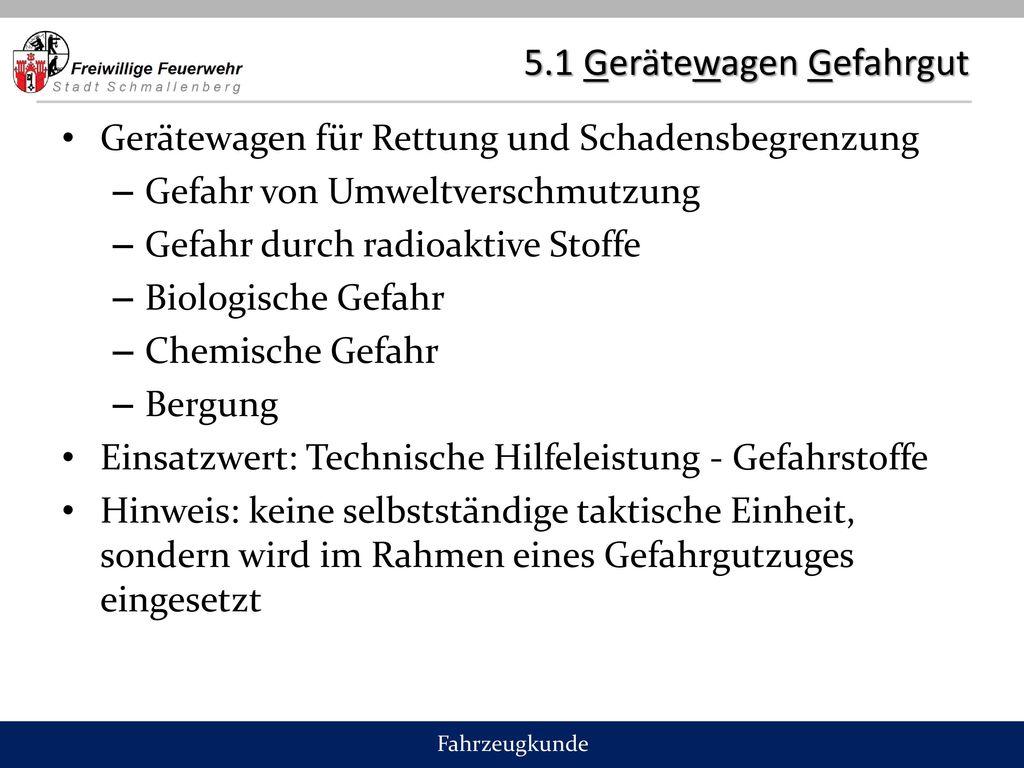 5.1 Gerätewagen Gefahrgut