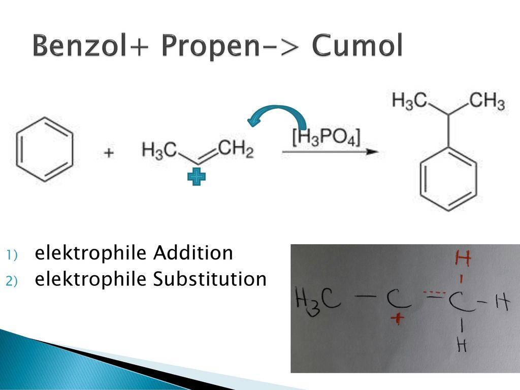 Benzol+ Propen-> Cumol