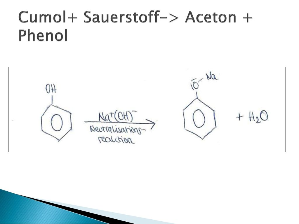 Cumol+ Sauerstoff-> Aceton + Phenol