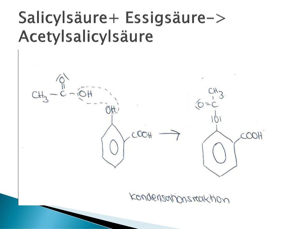Salicylsäure+ Essigsäure-> Acetylsalicylsäure
