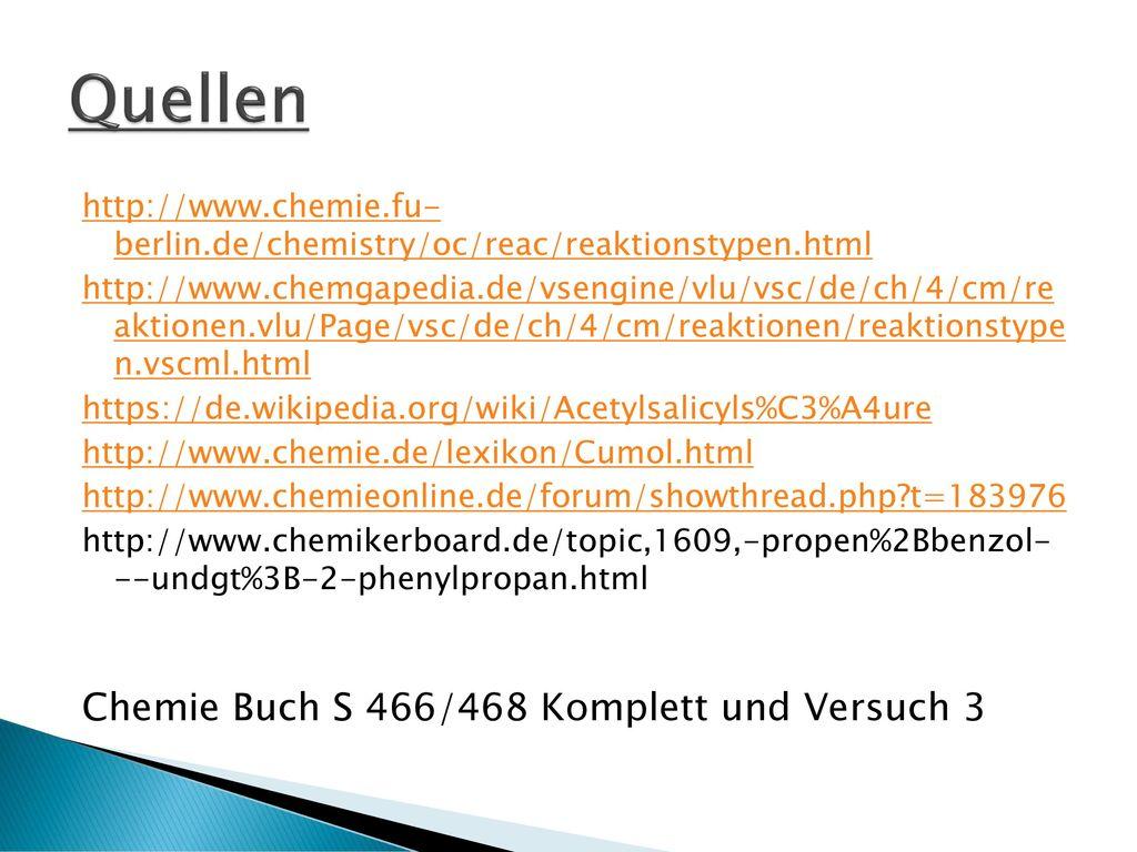 Quellen Chemie Buch S 466/468 Komplett und Versuch 3