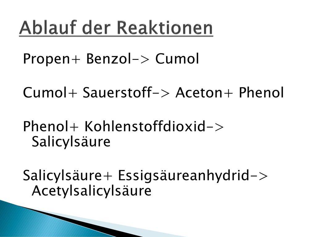 Ablauf der Reaktionen Propen+ Benzol-> Cumol