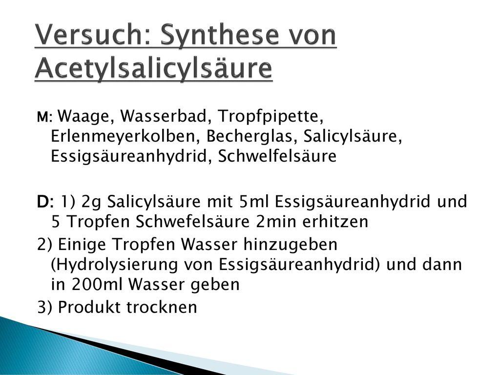 Versuch: Synthese von Acetylsalicylsäure