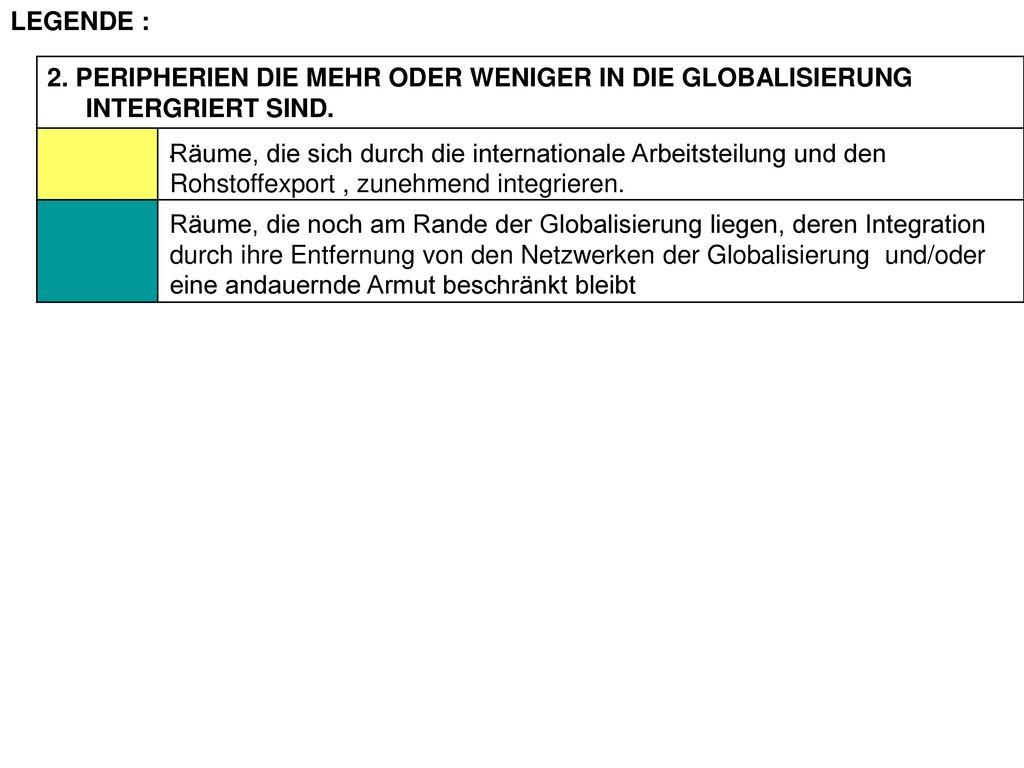 LEGENDE : 2. PERIPHERIEN DIE MEHR ODER WENIGER IN DIE GLOBALISIERUNG INTERGRIERT SIND. .