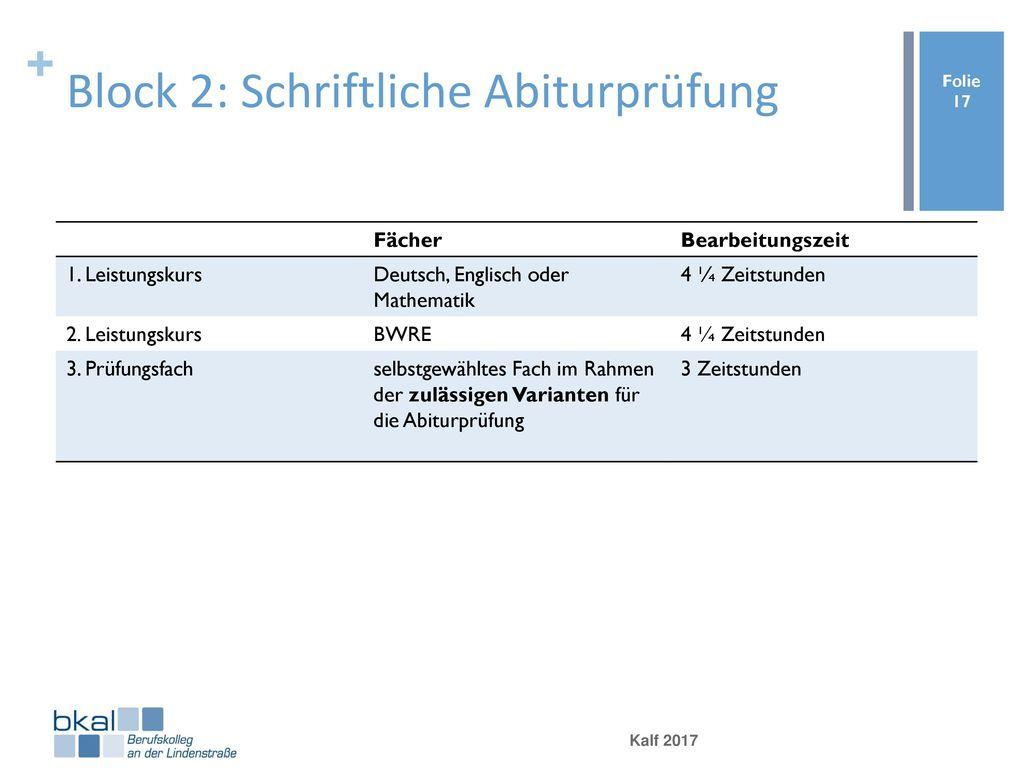 Block 2: Schriftliche Abiturprüfung