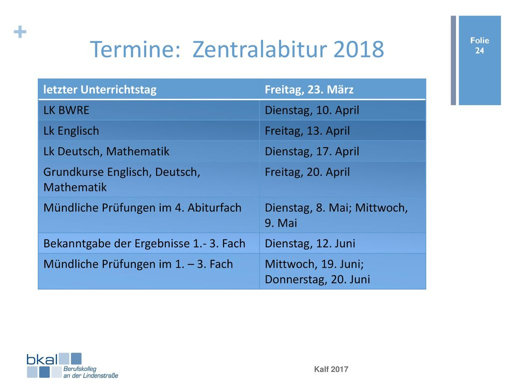 Termine: Zentralabitur 2018