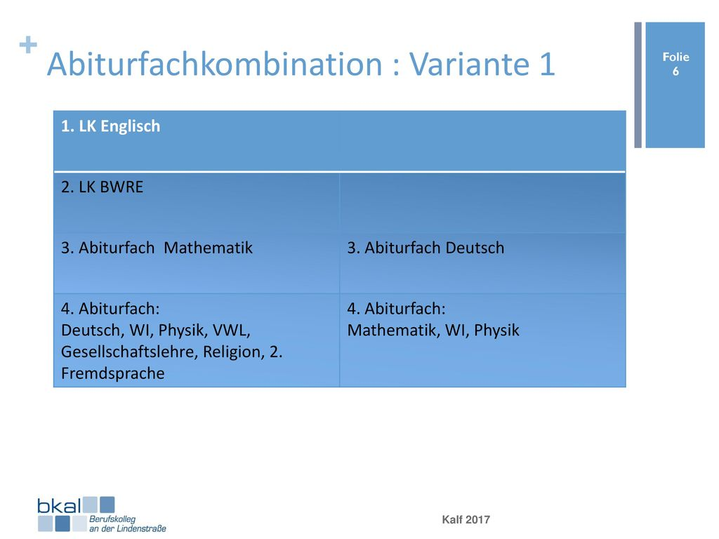 Abiturfachkombination : Variante 1