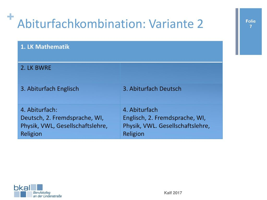 Abiturfachkombination: Variante 2