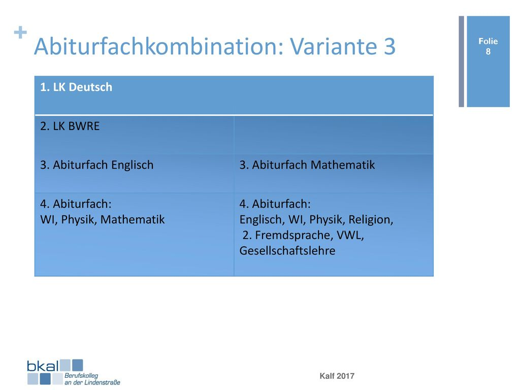 Abiturfachkombination: Variante 3
