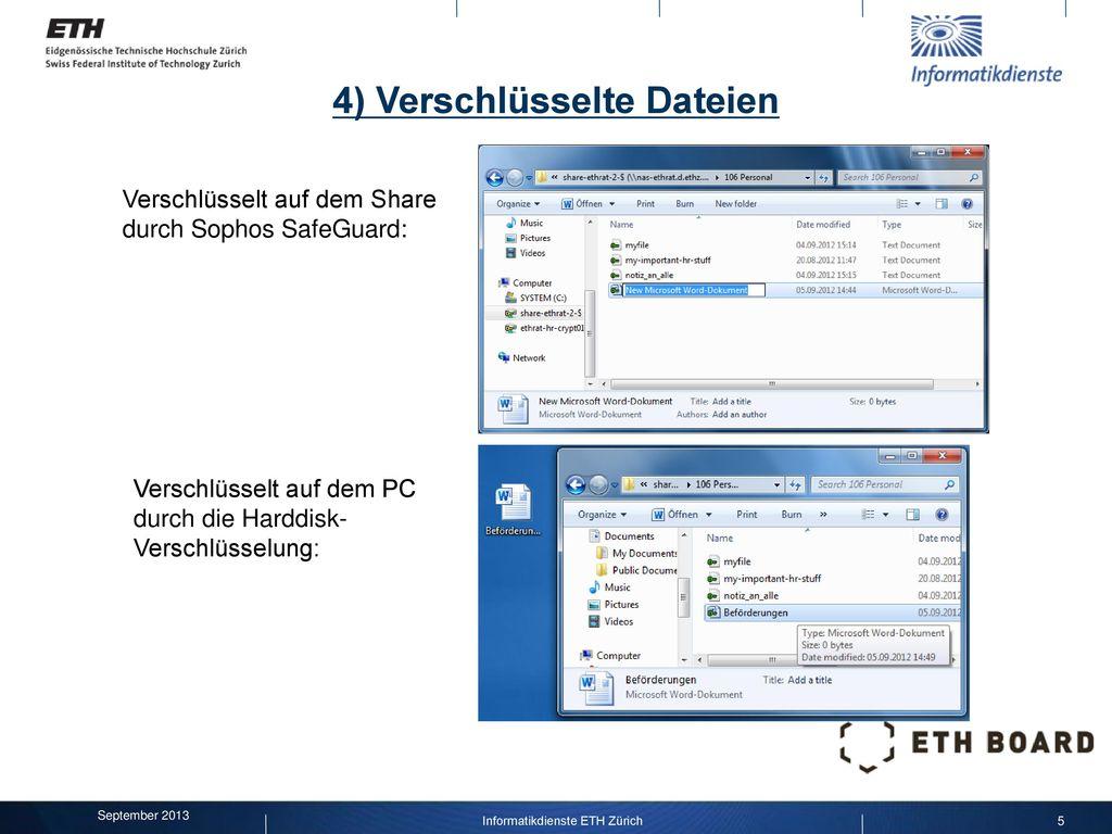 4) Verschlüsselte Dateien
