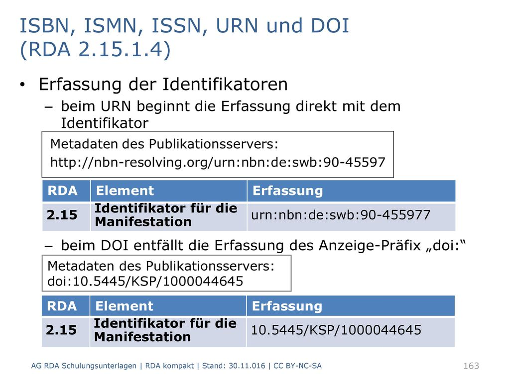 ISBN, ISMN, ISSN, URN und DOI (RDA )
