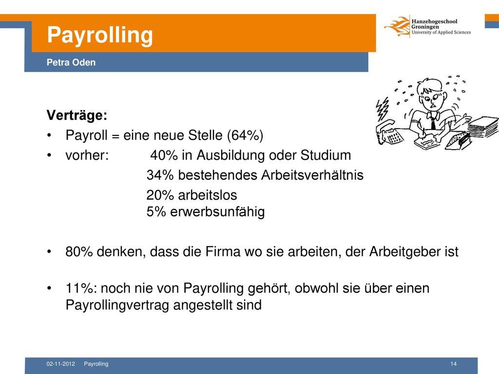 Payrolling Petra Oden Verträge: Payroll = eine neue Stelle (64%)