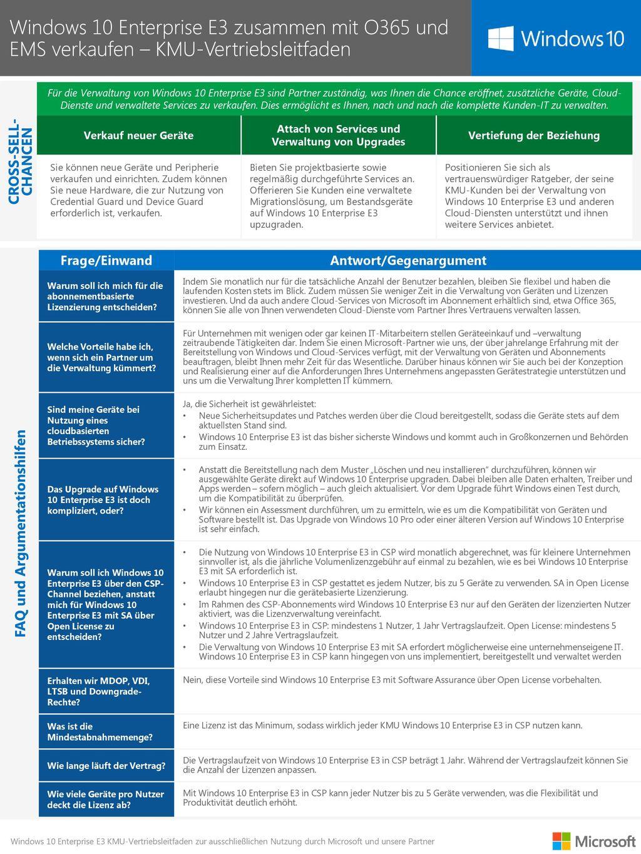 Windows 10 Enterprise E3 zusammen mit O365 und EMS verkaufen – KMU-Vertriebsleitfaden