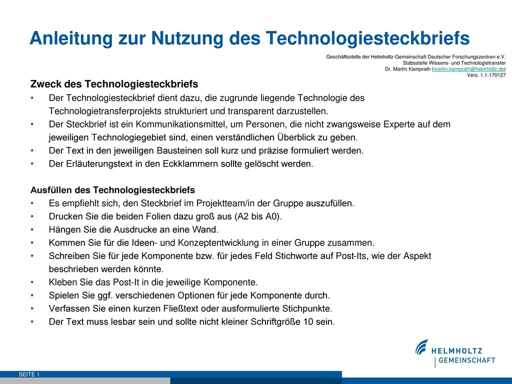 Anleitung zur Nutzung des Technologiesteckbriefs