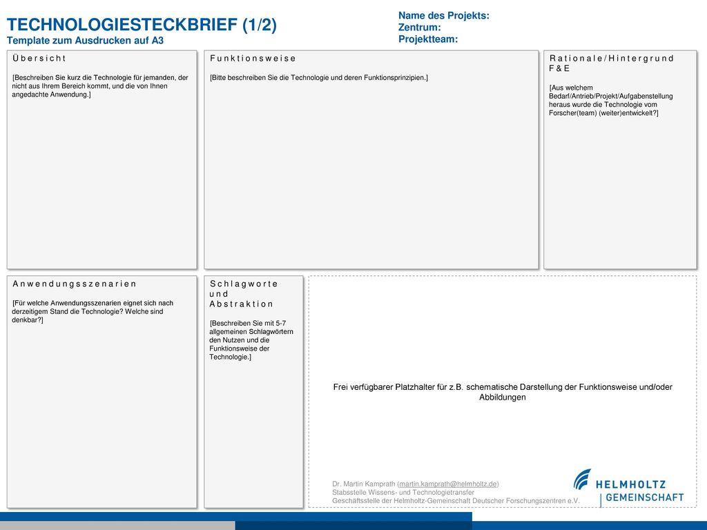 TechnologieSteckbrief (1/2) Template zum Ausdrucken auf A3
