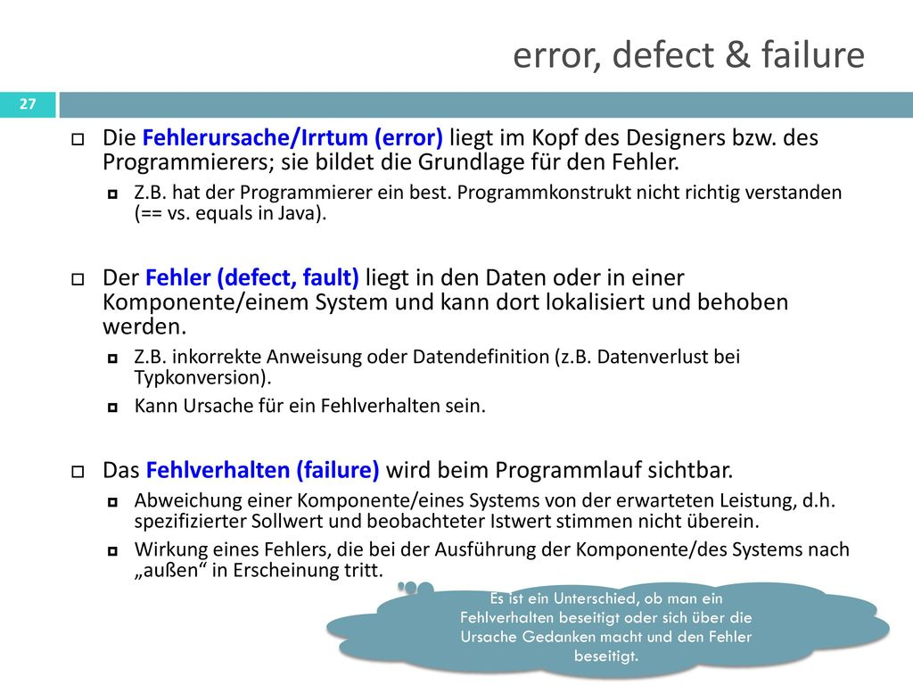 error, defect & failure