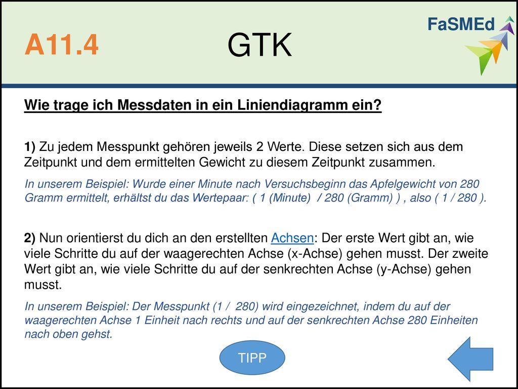 GTK A11.4 FaSMEd Wie trage ich Messdaten in ein Liniendiagramm ein