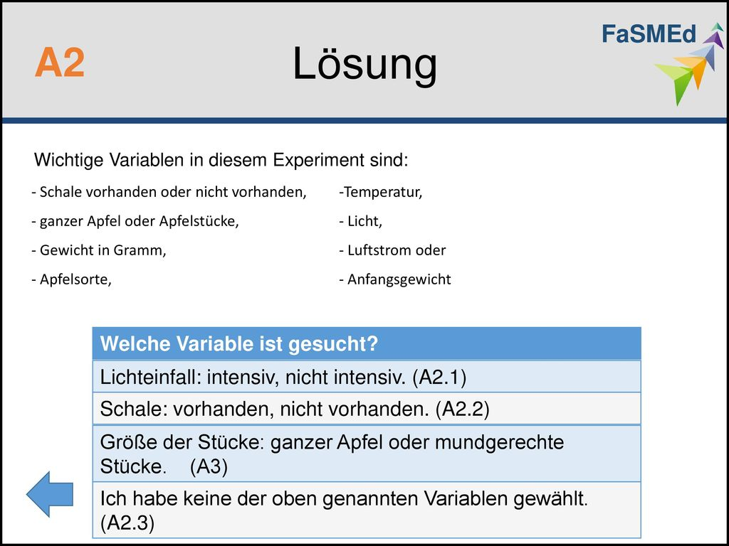 Lösung A2 FaSMEd Welche Variable ist gesucht