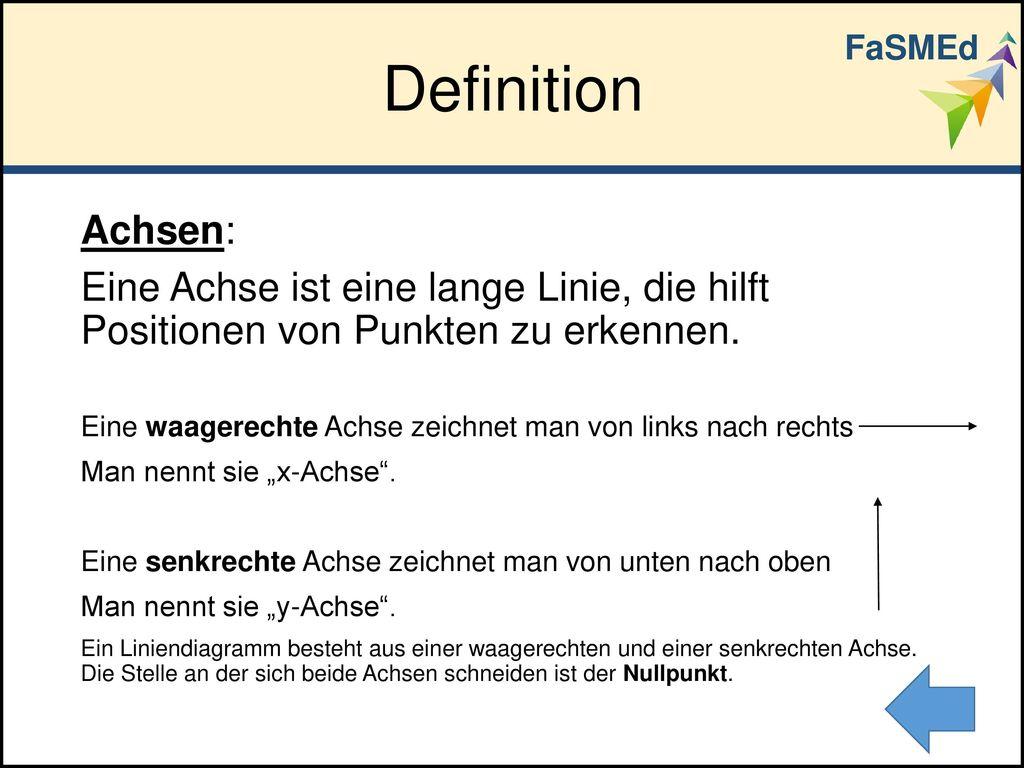 FaSMEd Definition. Achsen: Eine Achse ist eine lange Linie, die hilft Positionen von Punkten zu erkennen.