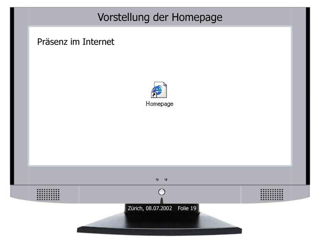 Vorstellung der Homepage