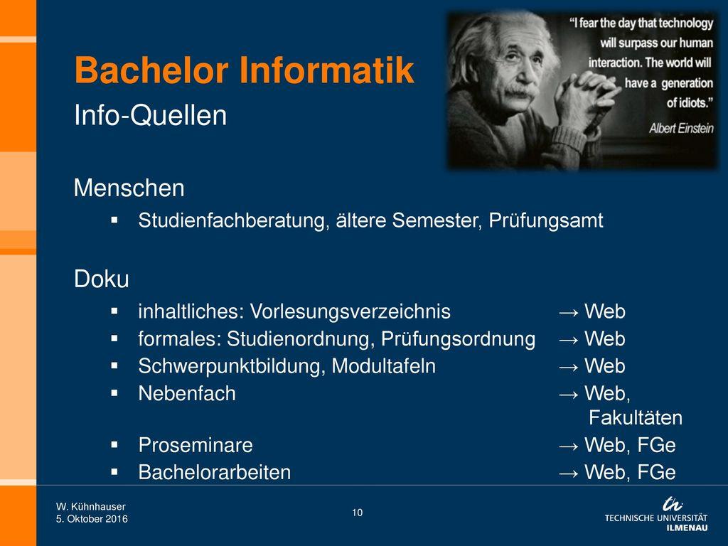 Bachelor Informatik Info-Quellen Menschen Doku