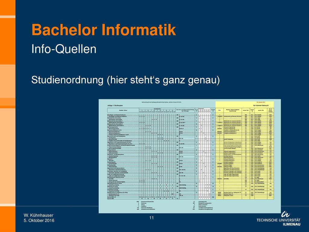 Bachelor Informatik Info-Quellen