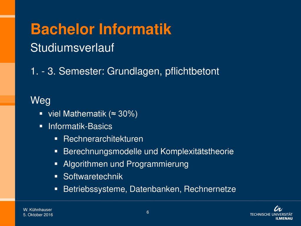 Bachelor Informatik Studiumsverlauf