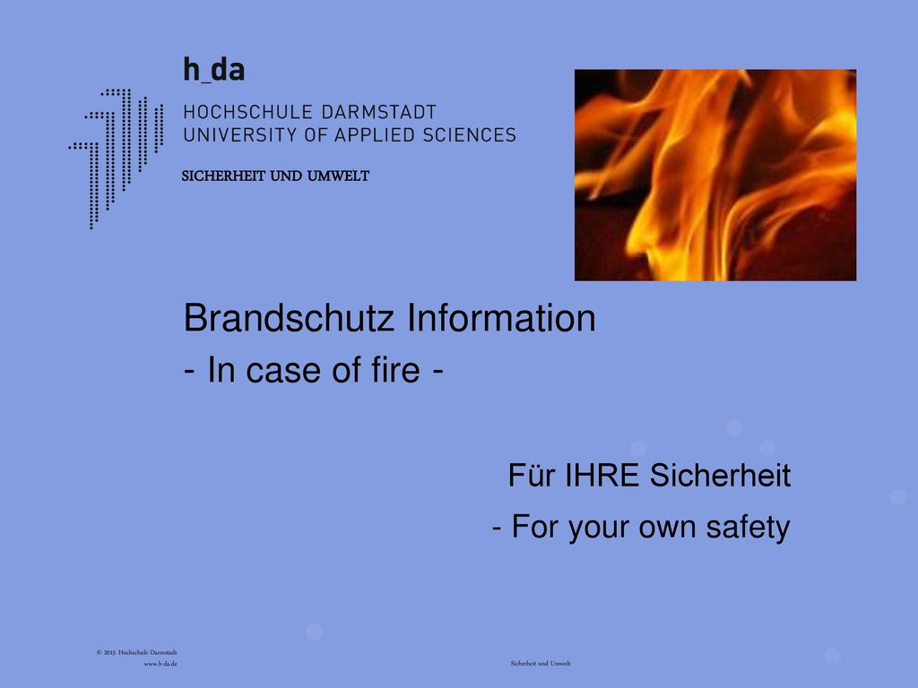 Brandschutz Information - In case of fire -