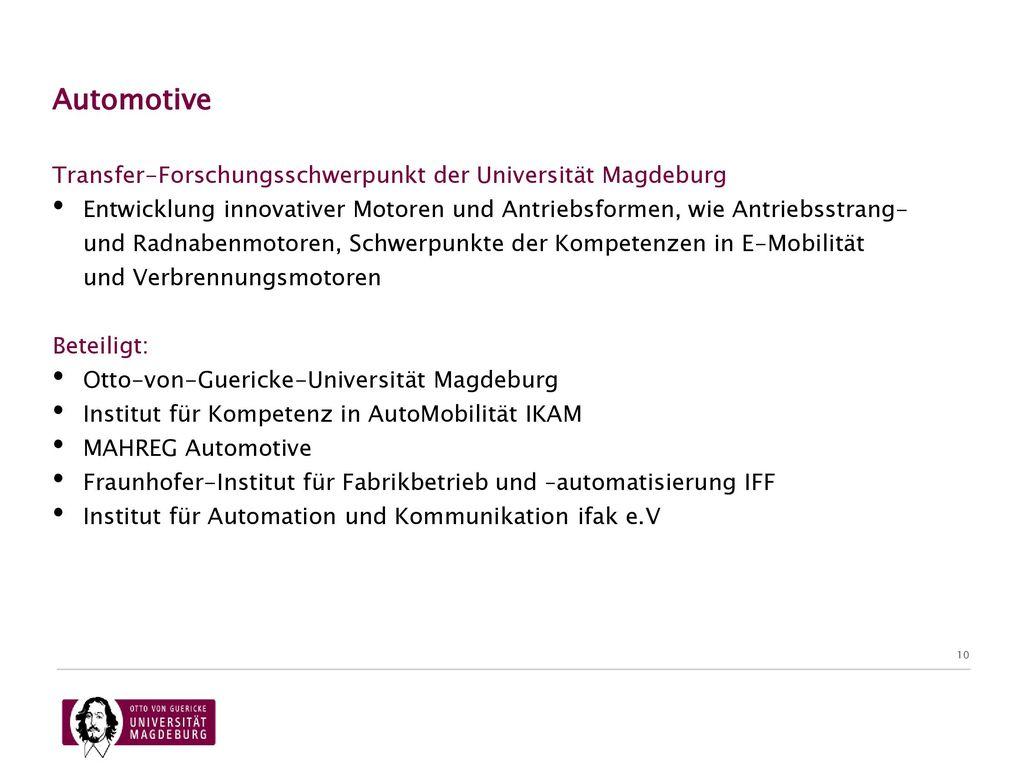 07.11.2017 Automotive. Transfer-Forschungsschwerpunkt der Universität Magdeburg.