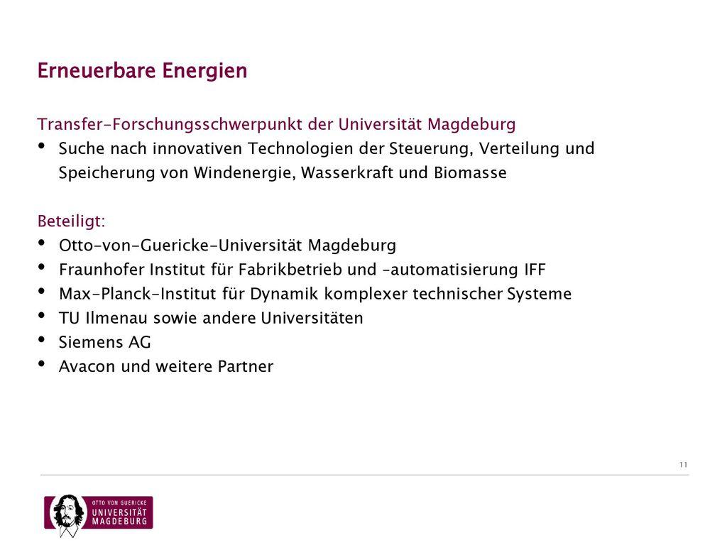 07.11.2017 Erneuerbare Energien. Transfer-Forschungsschwerpunkt der Universität Magdeburg.
