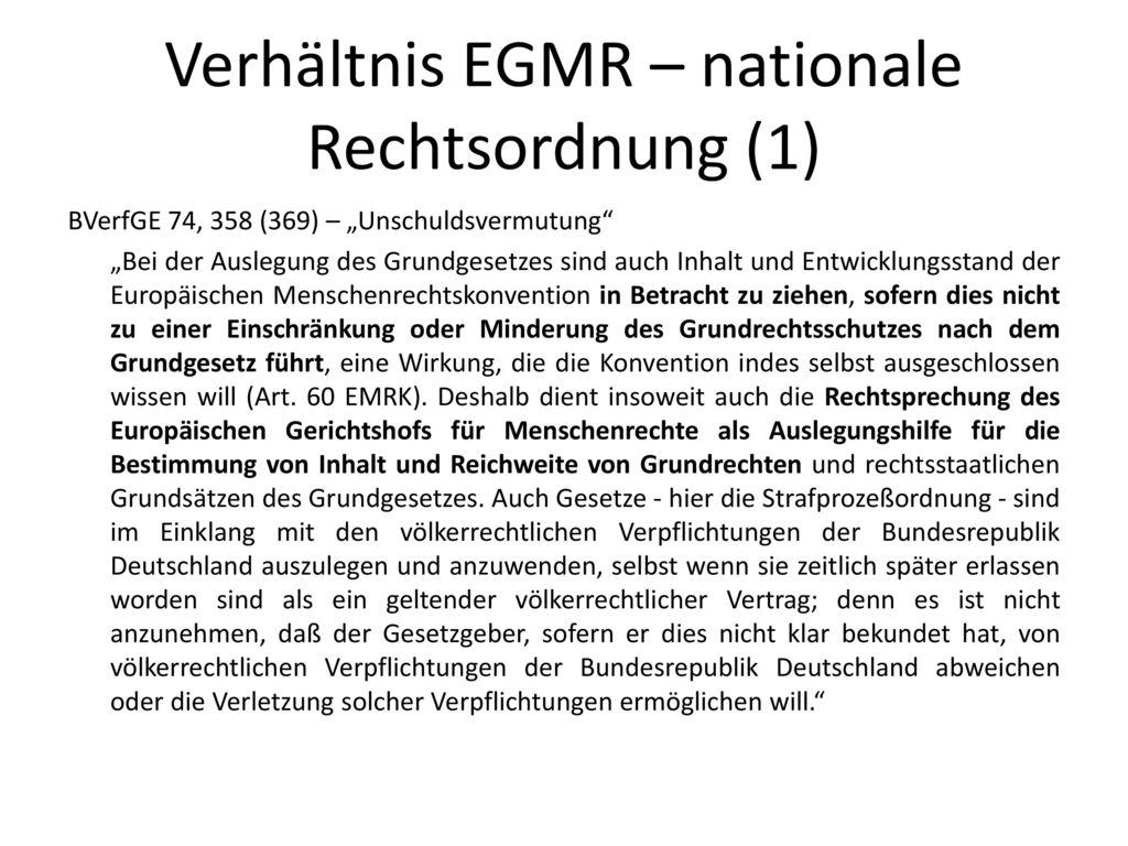 Verhältnis EGMR – nationale Rechtsordnung (1)