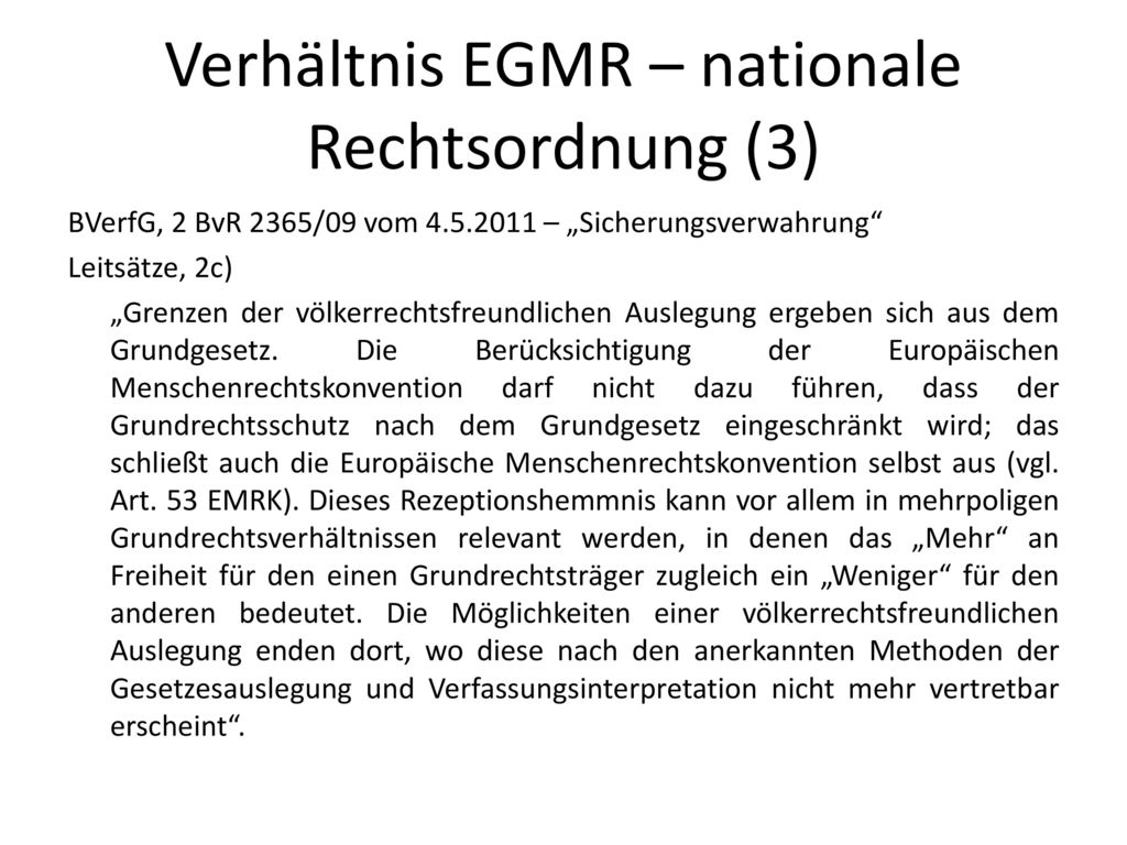 Verhältnis EGMR – nationale Rechtsordnung (3)