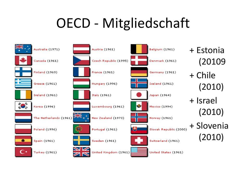OECD - Mitgliedschaft + Estonia (20109 + Chile (2010) + Israel (2010) + Slovenia (2010)