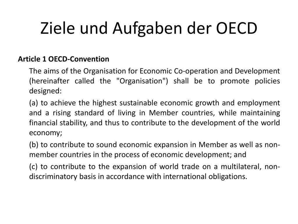 Ziele und Aufgaben der OECD