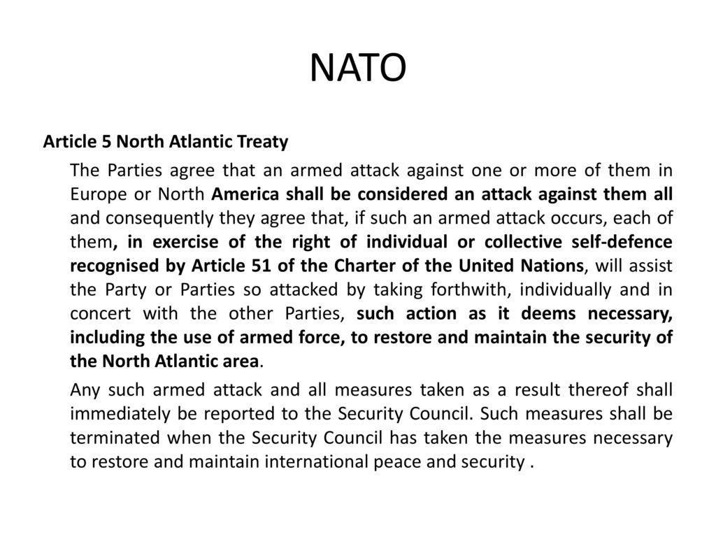 NATO Article 5 North Atlantic Treaty