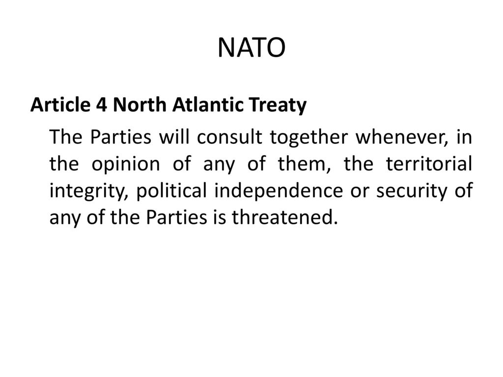 NATO Article 4 North Atlantic Treaty