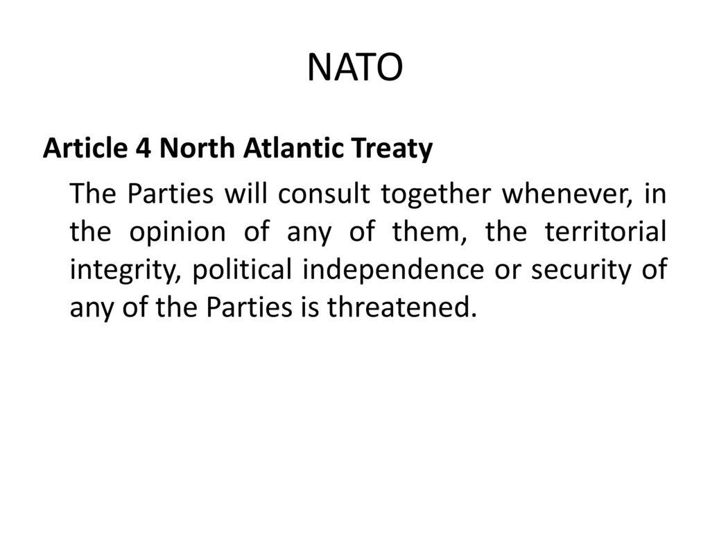 NATO Article 4 North Atlantic Treaty