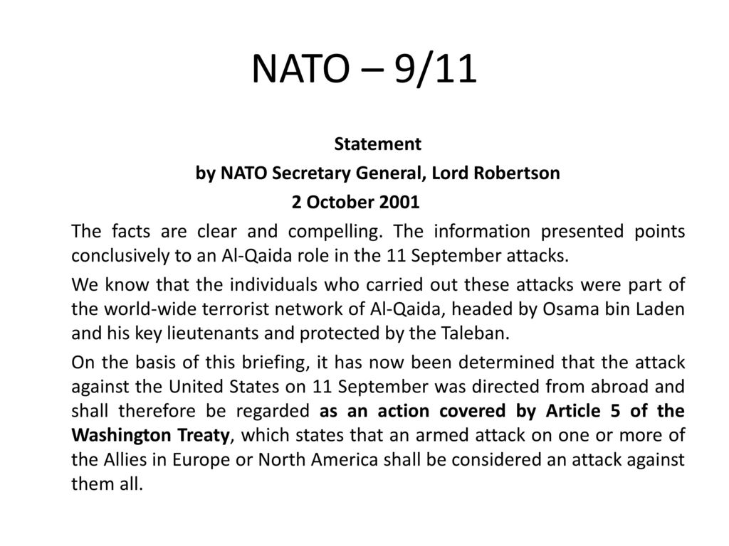 by NATO Secretary General, Lord Robertson