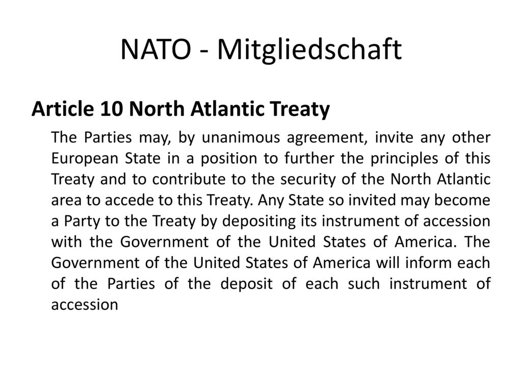 NATO - Mitgliedschaft Article 10 North Atlantic Treaty