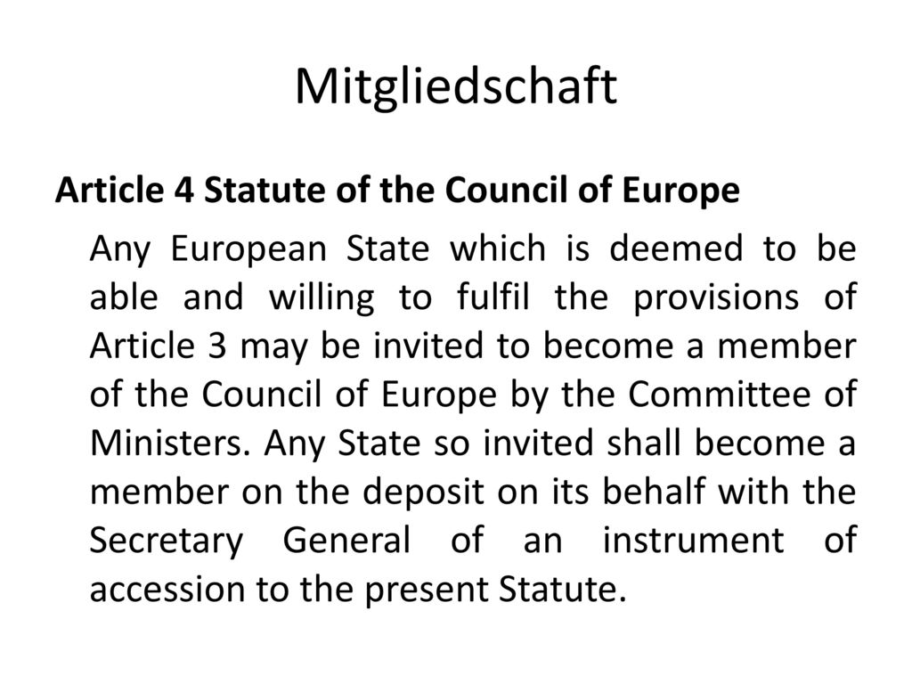 Mitgliedschaft Article 4 Statute of the Council of Europe