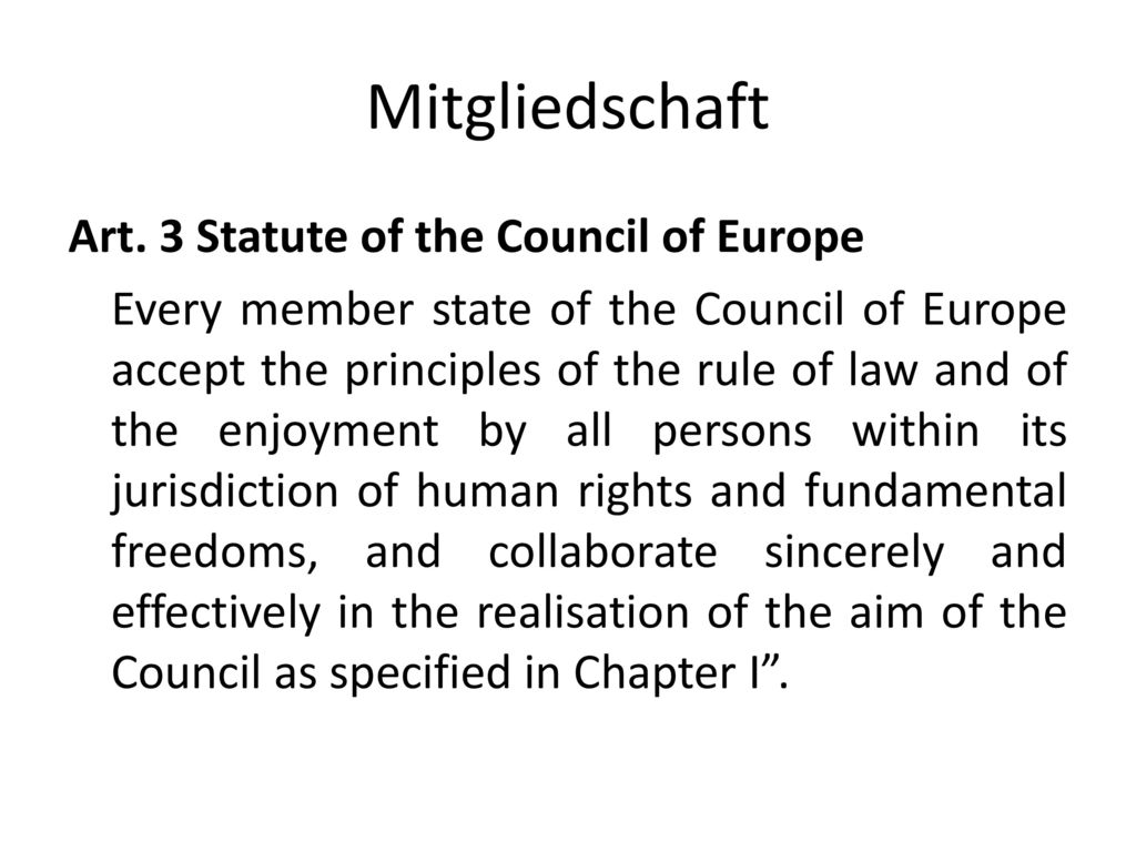 Mitgliedschaft Art. 3 Statute of the Council of Europe